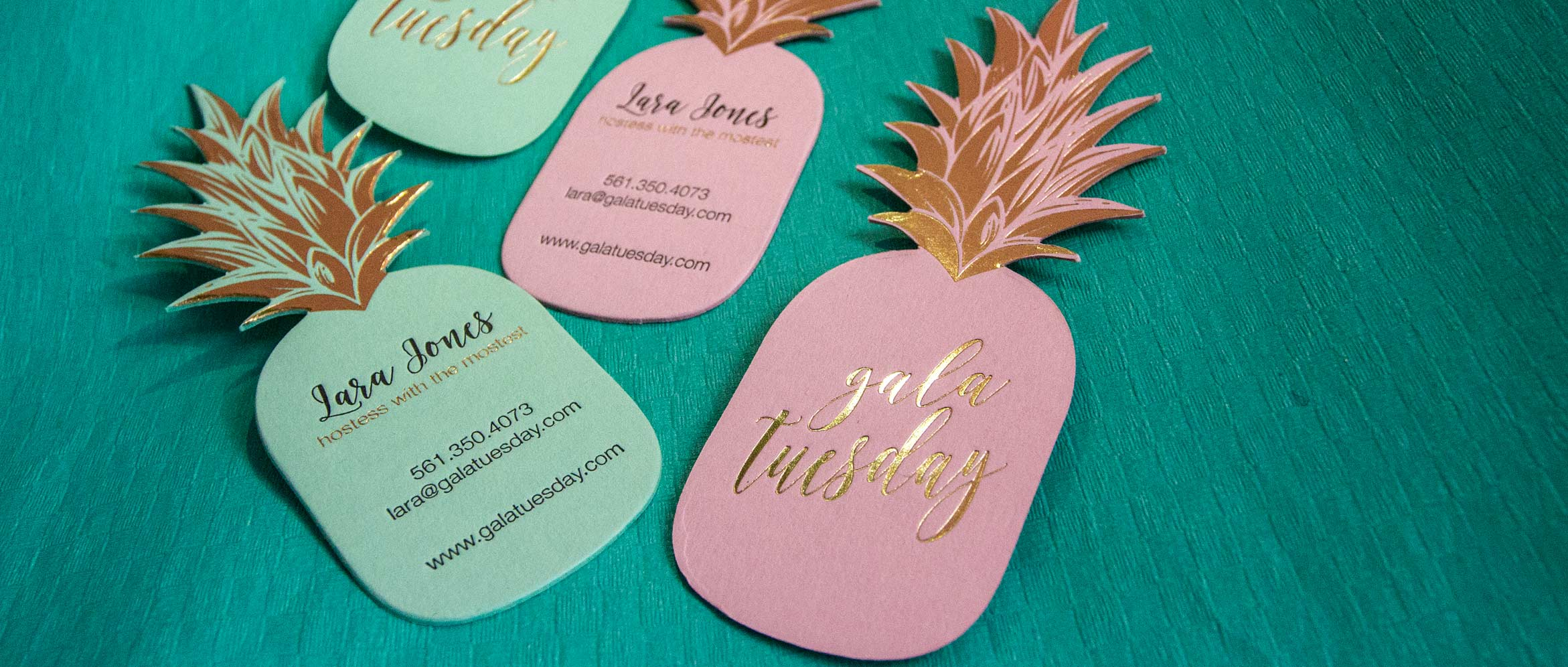 Pineapple shaped business cards