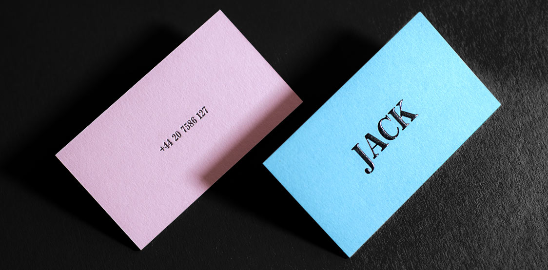 Jack business cards on colorplan paper