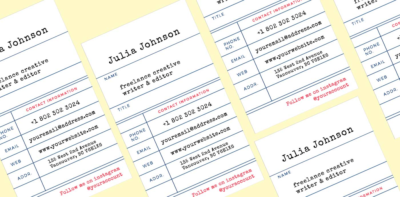 Library Business Card Template