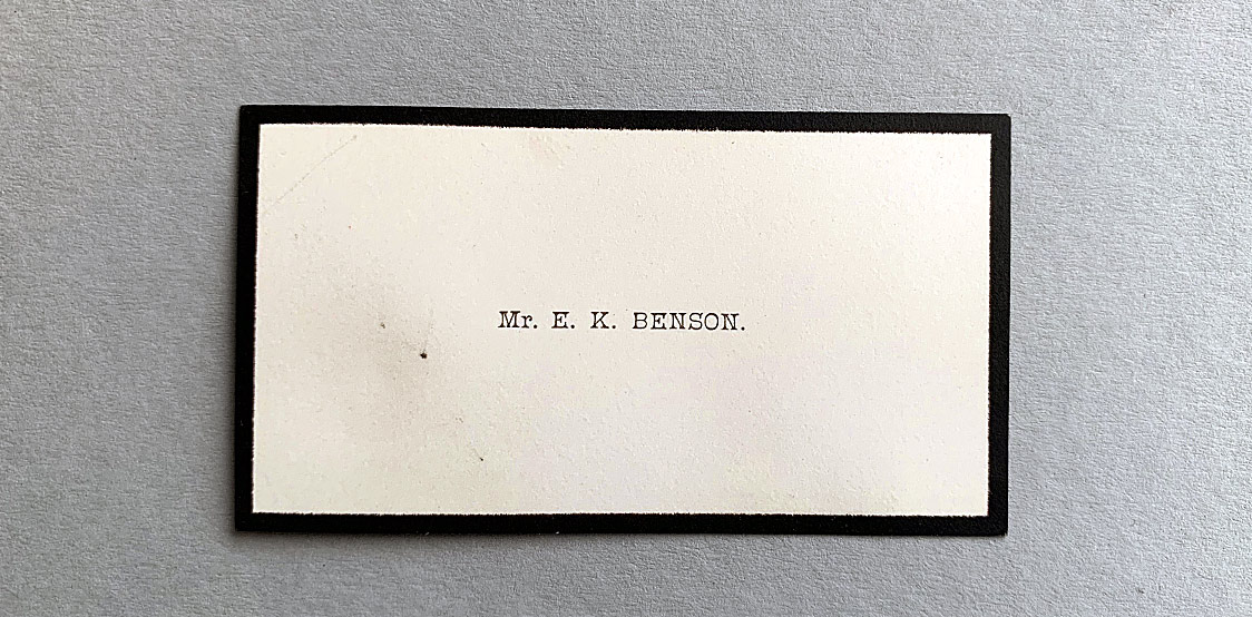 Mr Benson vintage business card