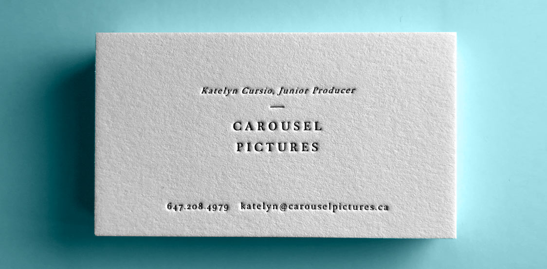 One color letterpress business card